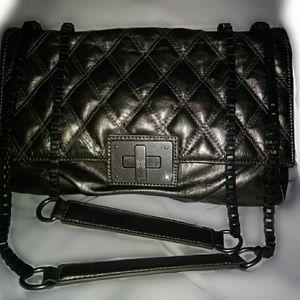 Pewter metalic handbag